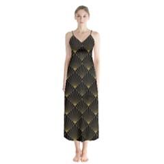 Abstract Stripes Pattern Button Up Chiffon Maxi Dress