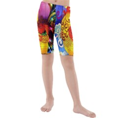 Chinese Zodiac Signs Kids  Mid Length Swim Shorts