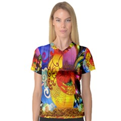 Chinese Zodiac Signs V Neck Sport Mesh Tee