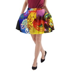Chinese Zodiac Signs A Line Pocket Skirt