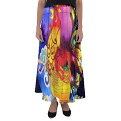 Chinese Zodiac Signs Flared Maxi Skirt