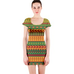 Mexican Pattern Short Sleeve Bodycon Dress