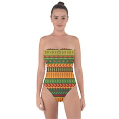 Mexican Pattern Tie Back One Piece Swimsuit