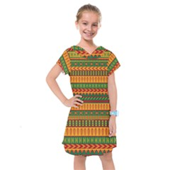 Mexican Pattern Kids  Drop Waist Dress