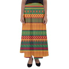 Mexican Pattern Flared Maxi Skirt