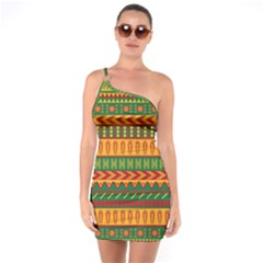 Mexican Pattern One Soulder Bodycon Dress