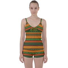 Mexican Pattern Tie Front Two Piece Tankini