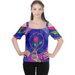 Enchanted Rose Stained Glass Cutout Shoulder Tee