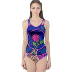 Enchanted Rose Stained Glass One Piece Swimsuit