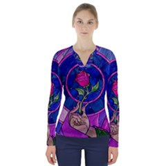 Enchanted Rose Stained Glass V Neck Long Sleeve Top