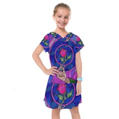 Enchanted Rose Stained Glass Kids  Drop Waist Dress