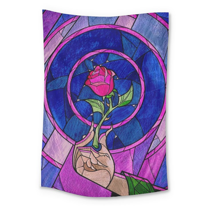 Enchanted Rose Stained Glass Large Tapestry