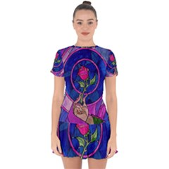 Enchanted Rose Stained Glass Drop Hem Mini Chiffon Dress