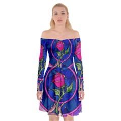 Enchanted Rose Stained Glass Off Shoulder Skater Dress