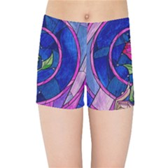 Enchanted Rose Stained Glass Kids Sports Shorts