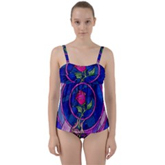 Enchanted Rose Stained Glass Twist Front Tankini Set