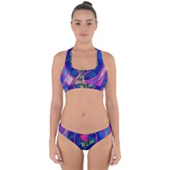 Enchanted Rose Stained Glass Cross Back Hipster Bikini Set