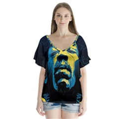 Gabz Jimi Hendrix Voodoo Child Poster Release From Dark Hall Mansion Flutter Sleeve Top