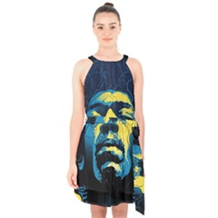 Gabz Jimi Hendrix Voodoo Child Poster Release From Dark Hall Mansion Halter Collar Waist Tie Chiffon Dress