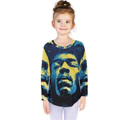 Gabz Jimi Hendrix Voodoo Child Poster Release From Dark Hall Mansion Kids  Long Sleeve Tee