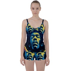 Gabz Jimi Hendrix Voodoo Child Poster Release From Dark Hall Mansion Tie Front Two Piece Tankini