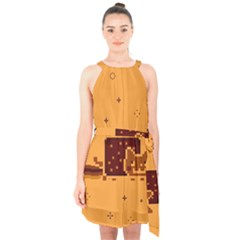 Nyan Cat Vintage Halter Collar Waist Tie Chiffon Dress