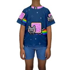 Nyan Cat Kids  Short Sleeve Swimwear