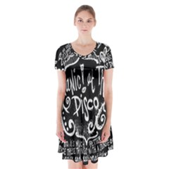 Panic ! At The Disco Lyric Quotes Short Sleeve V Neck Flare Dress