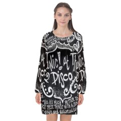 Panic ! At The Disco Lyric Quotes Long Sleeve Chiffon Shift Dress