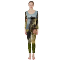 Bearded Collie Laying Long Sleeve Catsuit
