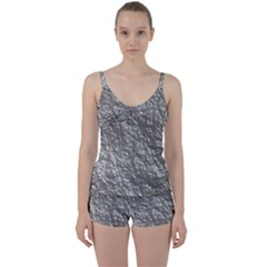 Crumpled Foil 17b Tie Front Two Piece Tankini