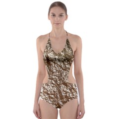 Crumpled Foil 17a Cut Out One Piece Swimsuit