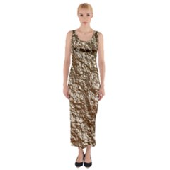 Crumpled Foil 17a Fitted Maxi Dress