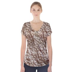 Crumpled Foil 17a Short Sleeve Front Detail Top