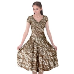 Crumpled Foil 17a Cap Sleeve Wrap Front Dress