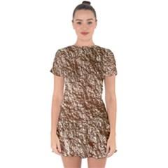 Crumpled Foil 17a Drop Hem Mini Chiffon Dress