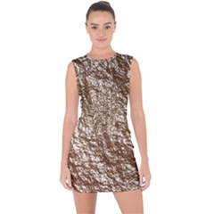 Crumpled Foil 17a Lace Up Front Bodycon Dress