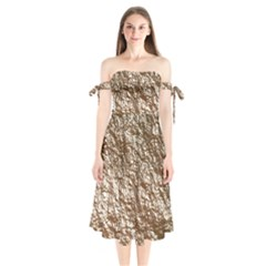 Crumpled Foil 17a Shoulder Tie Bardot Midi Dress