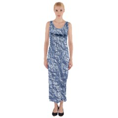 Crumpled Foil 17d Fitted Maxi Dress