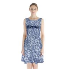 Crumpled Foil 17d Sleeveless Waist Tie Chiffon Dress