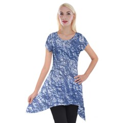 Crumpled Foil 17d Short Sleeve Side Drop Tunic