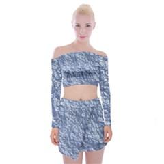 Crumpled Foil 17d Off Shoulder Top With Skirt Set