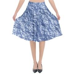 Crumpled Foil 17d Flared Midi Skirt