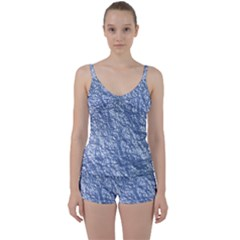 Crumpled Foil 17d Tie Front Two Piece Tankini