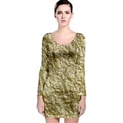 Crumpled Foil 17c Long Sleeve Bodycon Dress