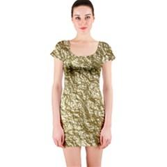 Crumpled Foil 17c Short Sleeve Bodycon Dress