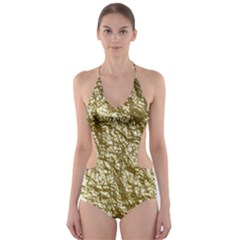Crumpled Foil 17c Cut Out One Piece Swimsuit