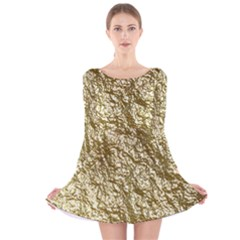 Crumpled Foil 17c Long Sleeve Velvet Skater Dress
