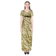 Crumpled Foil 17c Short Sleeve Maxi Dress