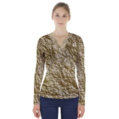 Crumpled Foil 17c V Neck Long Sleeve Top